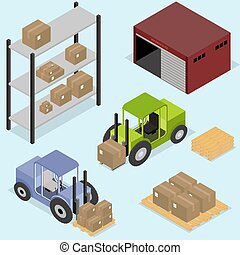 isométrico, iconos, conjunto, de, logística, y, entrega, almacén, cajas