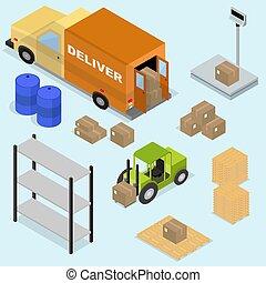 isométrico, iconos, conjunto, de, logística, y, entrega, escalas, cajas, fo