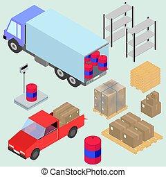 isométrico, iconos, conjunto, de, logística, y, entrega, escalas, cajas, forklifts, y, carga