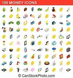 isométrico, iconos, conjunto, dinero, estilo, 100, 3d