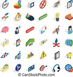 isométrico, iconos, conjunto, ejecutivo, estilo, oficial