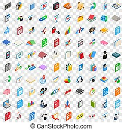 isométrico, iconos, conjunto, estilo, 100, 3d, software