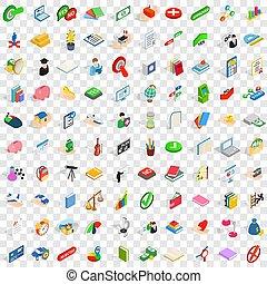 isométrico, iconos, conjunto, estilo, 100, ley, 3d