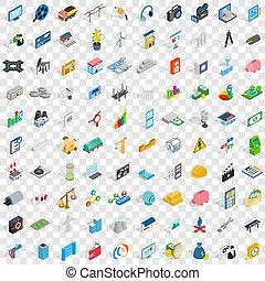 isométrico, iconos, conjunto, estilo, 100, tecnología, 3d