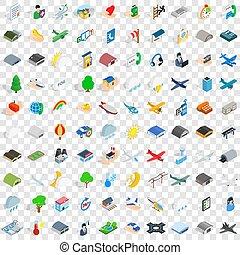 isométrico, iconos, conjunto, estilo, aeropuerto, 100, 3d