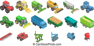 isométrico, iconos, conjunto, estilo, agrícola, máquinas