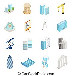 isométrico, iconos, conjunto, estilo, arquitectura, 3d