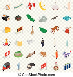 isométrico, iconos, conjunto, estilo, arquitectura, mundo
