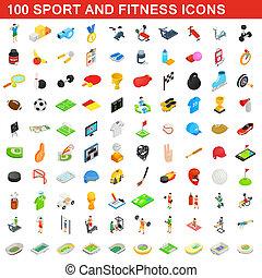 isométrico, iconos, conjunto, estilo, condición física, 100, deporte