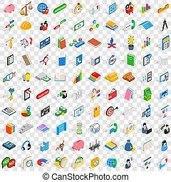 isométrico, iconos, conjunto, estilo, equipo, 100, 3d