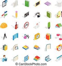 isométrico, iconos, conjunto, estilo, estudiante...