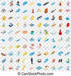 isométrico, iconos, conjunto, estilo, mar, 100, 3d