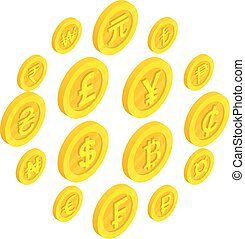 isométrico, iconos, conjunto, estilo, moneda, 3d