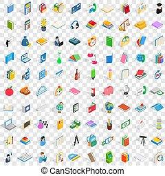 isométrico, iconos, conjunto, estilo, papelería, 100, 3d