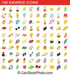 isométrico, iconos, conjunto, estilo, premios, 100, 3d