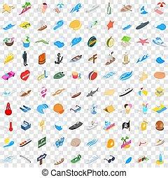 isométrico, iconos, conjunto, estilo, seawind, 100, 3d