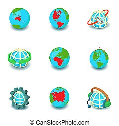 isométrico, iconos, conjunto, estilo, tierra, redondo