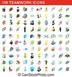 isométrico, iconos, conjunto, estilo, trabajo en equipo, 100, 3d