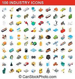 isométrico, iconos, conjunto, industria, estilo, 100, 3d