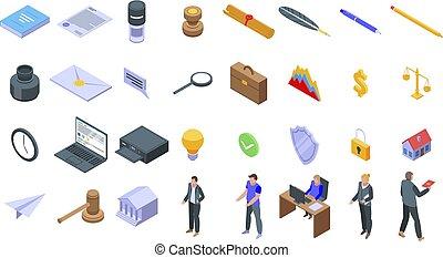isométrico, iconos, conjunto, notary, estilo