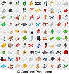 isométrico, iconos, conjunto, región, estilo, 100, 3d