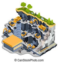 isométrico, ilustración, minería carbonífera, cantera