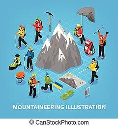 isométrico, ilustración, montañismo