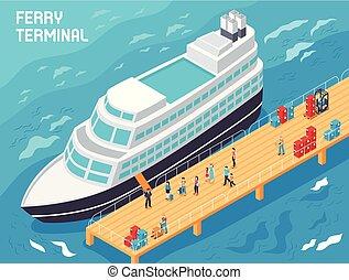 isométrico, ilustración, unidad terminal de transbordador