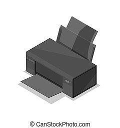 isométrico, impresora, laser, 3d, icono