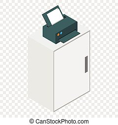 isométrico, impresora, laser, icono