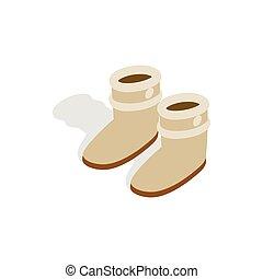 isométrico, invierno, icono, estilo, par, 3d, shoes