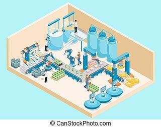 isométrico, lechería, planta, plantilla