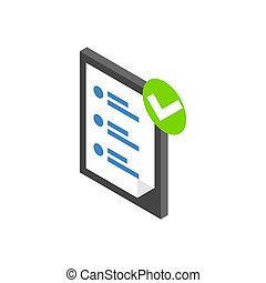 Isométrico, lista, estilo, icono, cheque,  3D