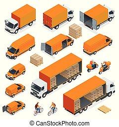 isométrico, logística, iconos, conjunto, de, diferente, transporte, distribución, vehículos, entrega, elements., carga, transporte, aislado, blanco, fondo.