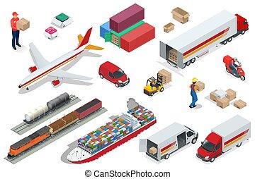 isométrico, logística, iconos, conjunto, de, diferente, transporte, distribución, vehículos, entrega, elements., carga aérea, transporte por carretera, carril, transporte, marítimo, envío, vehículos, diseñado, para llevar, grande, números