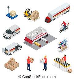 isométrico, logística, iconos, conjunto, de, diferente, transporte, distribución, vehículos, entrega, elements., vehículos, diseñado, para llevar, grande, números