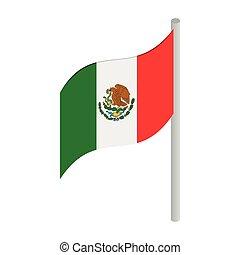 isométrico, méxico, estilo, bandera, icono, 3d