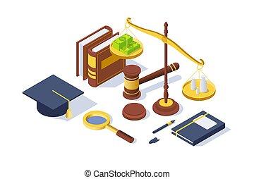 isométrico, martillo, justicia, book., balance, equipo, libra, pluma, 3d