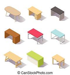isométrico, mesas, oficina, vector