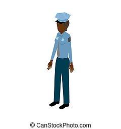 isométrico, mujer policía, negro