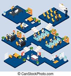isométrico, multistory, oficina