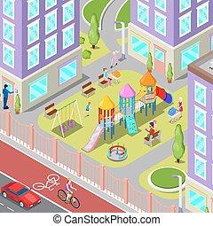 isométrico, niños, patio de recreo, en, el, dormitorio, con, gente, sweengs, diapositiva, y, carousel., vector, ilustración