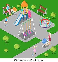 isométrico, niños, patio de recreo, en el parque, con, gente, sweengs, carrusel, y, slide., vector, ilustración