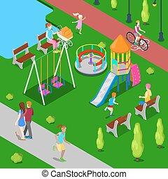 isométrico, niños, patio de recreo, en el parque, con, gente, sweengs, diapositiva, y, carousel., vector, ilustración