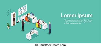 isométrico, oficina, trabajando, espacio, businesspeople, ...
