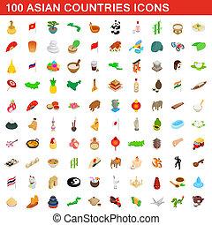 isométrico, países, conjunto, iconos, estilo, asiático, 100, 3d