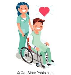 Isométrico, paciente, gente, sílla de ruedas,  vector, Enfermera, caricatura