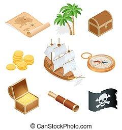 isométrico, pirata, accesorios, plano, icons., colección, con, de madera, pecho de tesoros, y, negro, roger alegre, flag., vector, ilustración