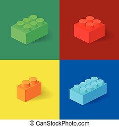 isométrico, plástico, componentes básicos, con, shadow., vector, conjunto, de, el, coloreado, bricks.