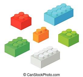isométrico, plástico, componentes básicos, con, shadow., vector, conjunto, de, el, ladrillos de color